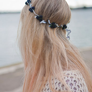 Pretty Kawaii Boho Black Floral and Silver  Ivy Leaf Trim Festival Floral Hair Crown/Garland