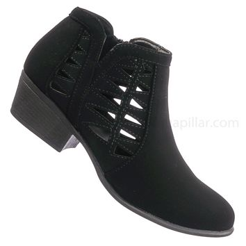 Gary55 Triangle Chop Out Ankle Bootie - Women Western Block Heel Cutout