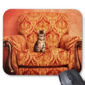 Cute Kitten Sitting on A Big Chair Mousepad