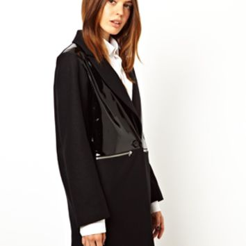 ASOS Patent Zip Detail Coat