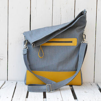 Canvas Totes - Leather tote bag - yellow Grey Foldover bag - Crossbody bag - Messenger bag - Everyday bag
