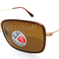 Authentic RAY-BAN Polarized Gold Sunglass RB 3514M - 149/83 *NEW*