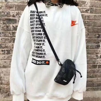 nike women fashion long sleeve pullover sweatshirt top sweater-1