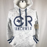 CR Women's Gray and Navy Hoodie