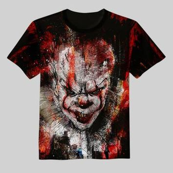 2017 New movie IT Pennywise Clown Stephen King 1990 2017 Horror Movie T-Shirt COSPLAY Tee