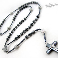 Catholic Mens Rosary Necklace, boys rosary, catholic gift, confirmation rosary, rosary for man, masculine rosary, hematite rosary crucifix