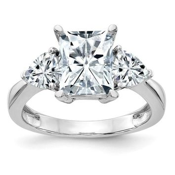 14k White Gold 3-Stone Rectangle and Pear Moissanite Engagement Ring
