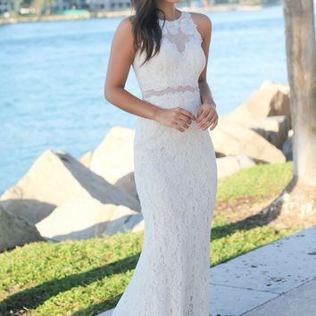 Ivory Lace Maxi Dress with Mesh Detail