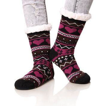 DCCKNY1 Dosoni Women's Winter Snowflake Fleece Lining Knit Christmas Knee Highs Stockings Slipper Socks