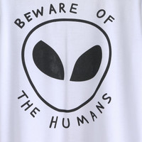 White Alien Print T-shirtFor Women-romwe