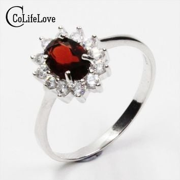 British Diana Kate Princess Engagement Ring flawless natural garnet Ring for woman solid 925 silver garnet wedding ring for lady