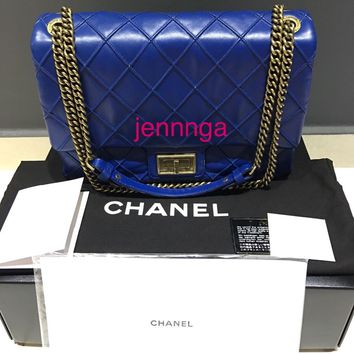 Authentic Chanel Lambskin Medium Blue Flap Bag with Mademoiselle Lock