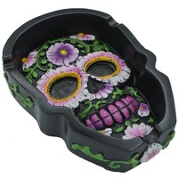 Skull Shaped Floral Ashtray Black Polystone