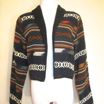 Vintage 80's Aztec   Indian Blanket  Western  Festival   Hippie  Boho  Native American  Short Jacket (Small/Indie Brands)