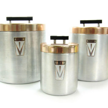 Vintage Chrome and Copper Kitchen Canister Set / Flour, Sugar, Tea