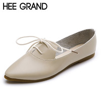 HEE GRAND Women Ballet Flats Soft Lace-Up Summer Loafers Pointed Toe Casual Flat Shoes Woman Size 35-40 Women Shoes XWD2648