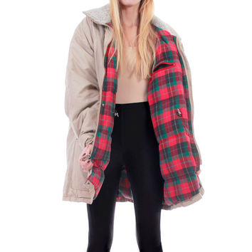 80s Vintage Woolrich Puffy Down Duffel Coat Plaid Flannel Drawstring Anorak Warm Winter Hipster Outerwear Plus Size Clothing Unisex Size 2X