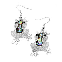 "silver abalone frog drop earrings at Joji Boutique: Textured bright silver froggies with abalone detail hang 1.5"" from the silver hooks. Black crystal eyes. #jewelry #joji #fashion #gifts"