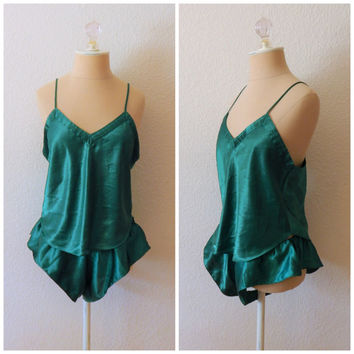 Vintage 80s Emerald Green Two Piece Lingerie Nightie Set Tank High Thigh Panty Medium