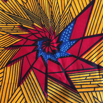 African Wax Print Fabric by the HALF YARD. Dark Red, Royal Blue, Yellow Starburts--Made in Mali