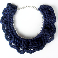 Crochet navy necklace, knitted necklace,  Tshirt yarn Necklace, Cotton Necklace, Jersey Cotton Necklace, Navy choker, Cotton choker.