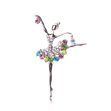ac spbest 1pcs Fashion Ballerina Ballet Dancer Girl Brooches Full Colourful Crystal Cute Angle Brooches Pins