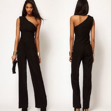 Women Black One Shoulder Sexy Jumpsuit Bell-bottoms Loose Overall Pants S-XXL CO 7_S = 5658812865