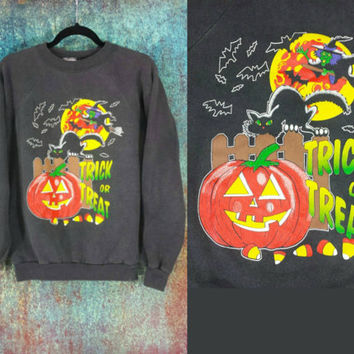 90s Halloween Sweatshirt Vintage Distressed Sweater Jumper Bats Witch Jack O Lantern Black Cat Haunted House, Moon Candy Corn Trick or Treat