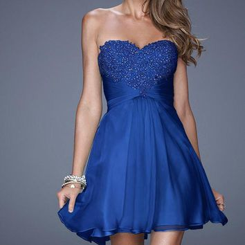 La Femme Strapless Beaded Euched Cocktail Dress
