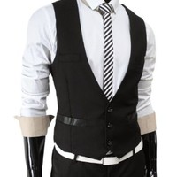 TheLees Men's Business Slim fit 3 Button Vest Waist Coat