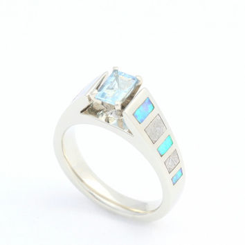 Cathedral Style Aquamarine Ring, Emerald Cut Engagement Ring with Meteorite and Opal inlay, 14K White    Gold