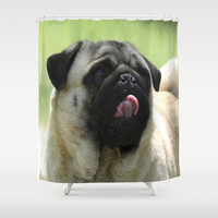 Pug face Shower Curtain by Veronica Ventress