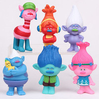 6Pcs Set Movie Trolls 4.3inch Height Figures Toys Cake Topper Kids Birthday Gift Children Funny Toys