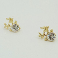 Golden Rhinestoned Antlers Shape Earrings