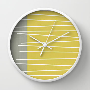MId century modern textured stripes Wall Clock by Michelle Drew