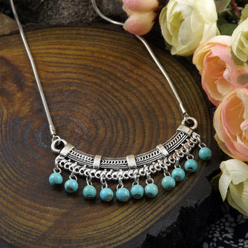 Bohemia  Collier Jewelry Vintage Turquoise Retro Drop Necklace & Pendant for Women
