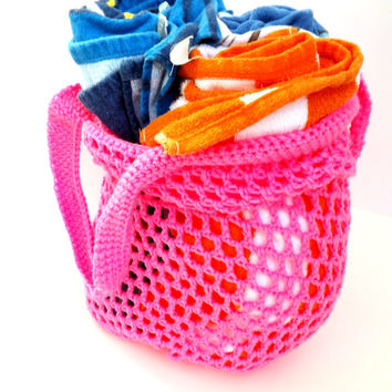 Beach Tote - Reusable Grocery Bag - Hot Pink eco-friendly bag - market bag - shopping bag - farmer's market bag - carry-all bag - laundry