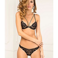 Strapped In Lace Bra and Thong Panties Set - Spencer's
