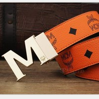 MCM Woman Fashion Smooth Buckle Belt Leather Belt H-A-GFPDPF