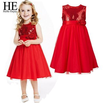 HE Hello Enjoy Girls Dress For Party And Wedding Kids Clothes Dress Girl Clothing Sequins Floral Sleeveless Princess Dresses