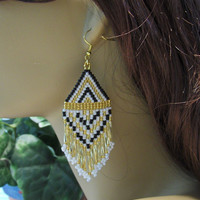 Native American Inspired Beaded Fringe Earrings/Ethnic Beaded Earrings/Hippie Earrings/Gifts For Her/Gift Ideas/Bohemian Jewelry