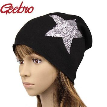 DCCKWQA Geebro Female Solid Star Knitted Hat Girls Sequins Cap Women Slouchy Baggy Autumn Winter Warm Beanies & Skullies Headwear JS259