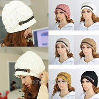 Women Braided Warm Baggy Winter Beanie Knit Crochet Ski Hat Cap = 1958067396