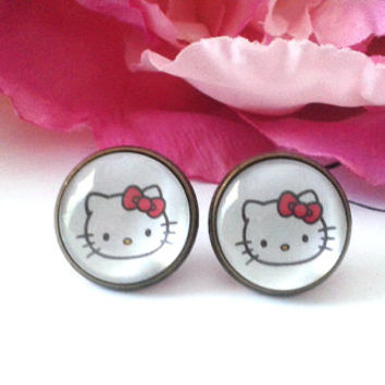 Adorable Kitten Stud Earrings - Studs - Earrings - Fake Plugs - Plugs - Faux Plugs - Stud Earrings - Earring Studs - Kitty Earrings