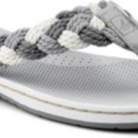 Sperry Top-Sider Tuckerfish Thong Sandal Charcoal/Gray/WhiteBraid, Size 6.5M  Women's Shoes