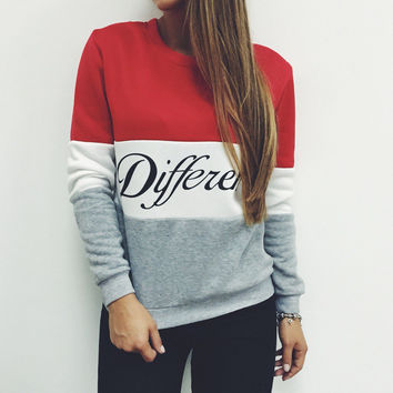 Hot 2016 women pullover hoodies letters Diffferent printed mix color casual sweatshirt women fleece sweatshirts