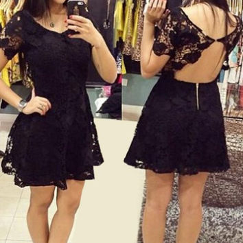 Black Short Sleeve Backless Lace Mini Dress