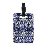 "KESS Original ""Baroque Blue Velvet"" Abstract Floral Decorative Luggage Tag"
