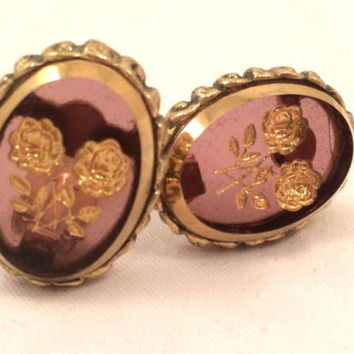 Whiting and Davis Golden Floral Intaglio Translucent Clip on Earrings Vintage