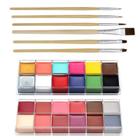 Professional Face Paint Oil 12 Colors Body Painting Art Party Fancy Make Up + Brushes Set